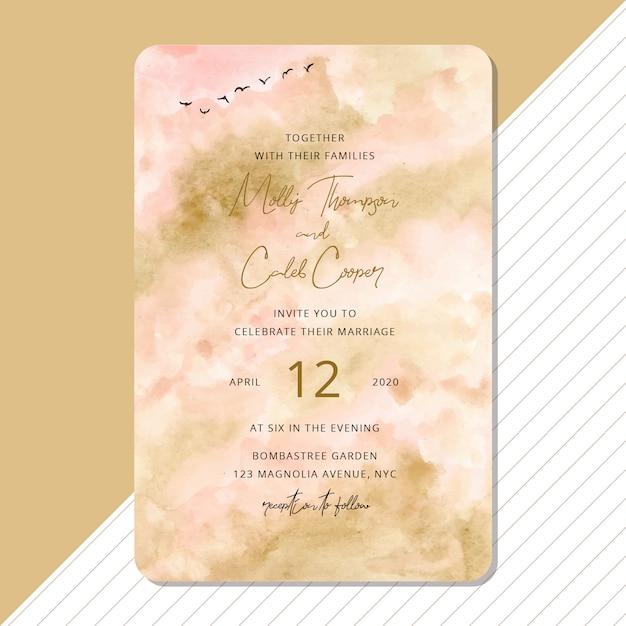 Convite de casamento com aquarela abstrata e fundo de pássaro Vetor Premium