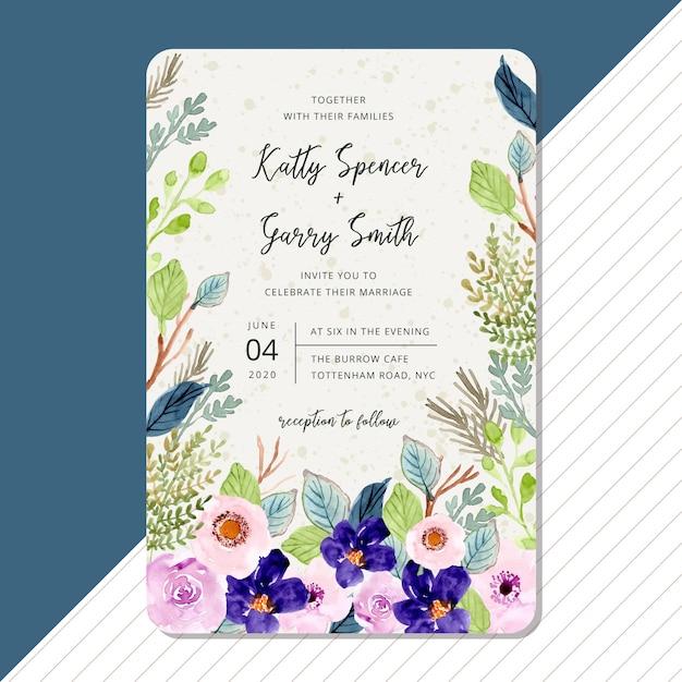Convite de casamento com aquarela linda flor Vetor Premium