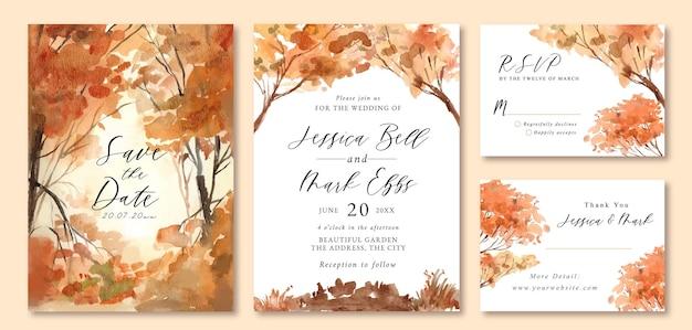 Convite de casamento com aquarela paisagem de floresta de laranjeira romântico Vetor Premium