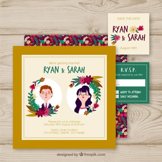 Convite de casamento com casais fofos Vetor grátis