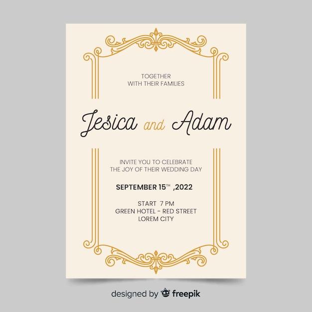 Convite de casamento com design retro Vetor grátis