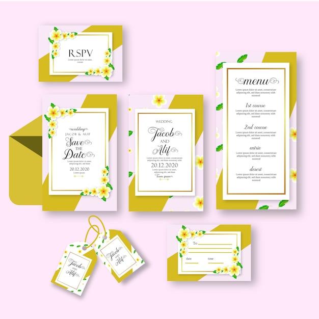 Convite de casamento com flor de jasmim Vetor Premium