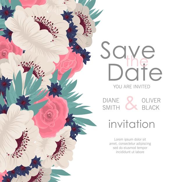 Convite de casamento com flores coloridas. Vetor Premium
