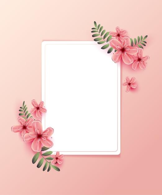 Convite De Casamento Com Flores Da Primavera Em Fundo Rosa Baixar