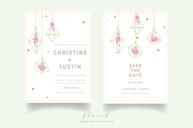 Convite de casamento com flores dálias em aquarela Vetor grátis