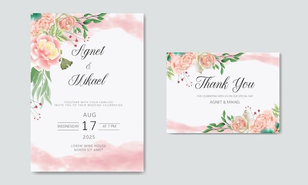 Convite de casamento com flores lindas e românticas Vetor Premium