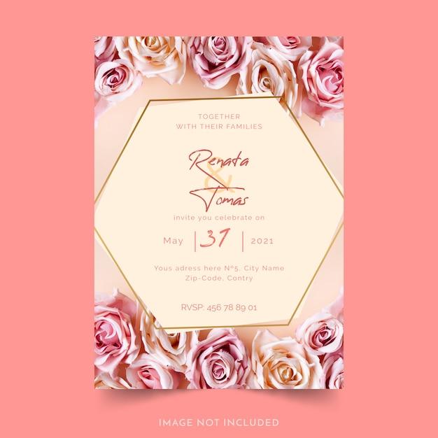 Convite de casamento com flores Vetor grátis