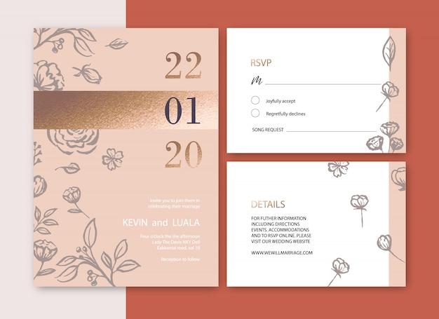 Convite de casamento com folhagem romântica, ilustração em aquarela de flor de luxo Vetor grátis