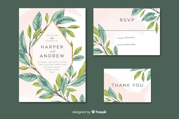 Convite de casamento com folhas pintadas artísticas Vetor grátis