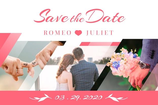Convite de casamento com foto com noiva e noivo Vetor grátis