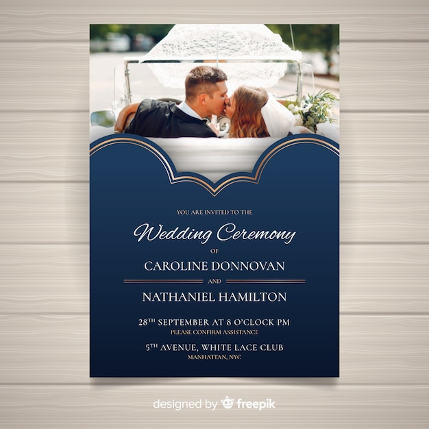 Convite de casamento com foto Vetor grátis