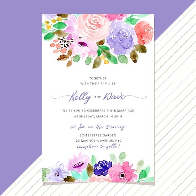 Convite de casamento com fundo floral bonito Vetor Premium