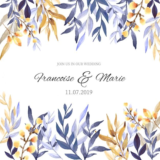 Convite de casamento com fundo floral Vetor grátis
