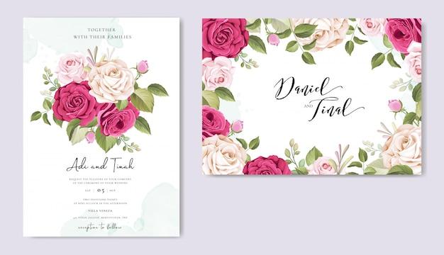 Convite de casamento com lindas flores e folhas Vetor Premium
