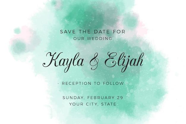 Convite de casamento com manchas verdes em aquarela gradiente Vetor grátis