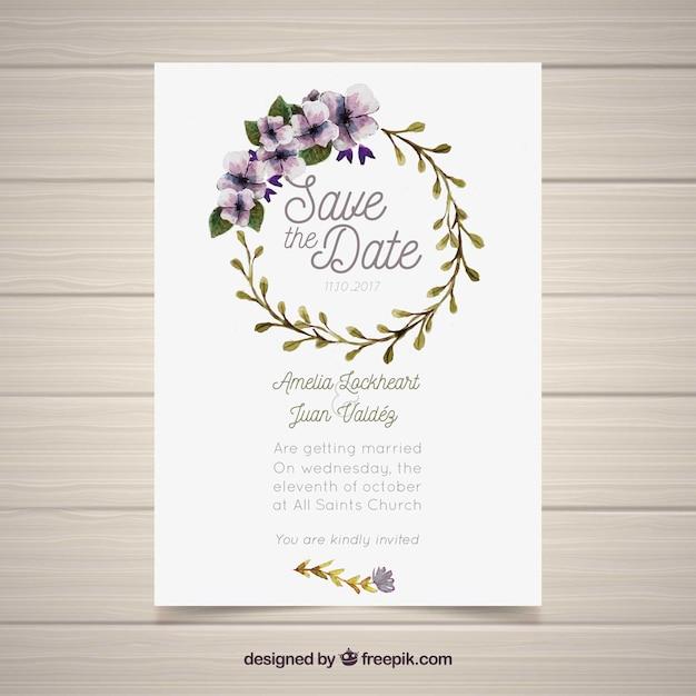 Top Convite de casamento com moldura circular de aquarela | Baixar  KR51