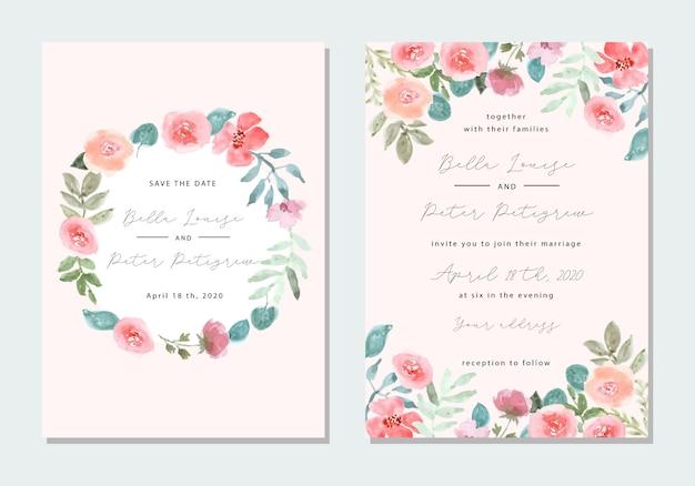 Convite de casamento com moldura de aquarela floral Vetor Premium
