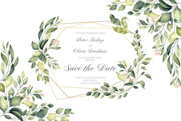 Convite de casamento com moldura dourada e folhas verdes Vetor grátis