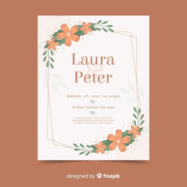 Convite de casamento com moldura floral em design plano Vetor grátis