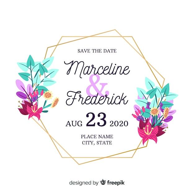 Convite de casamento com moldura floral Vetor grátis