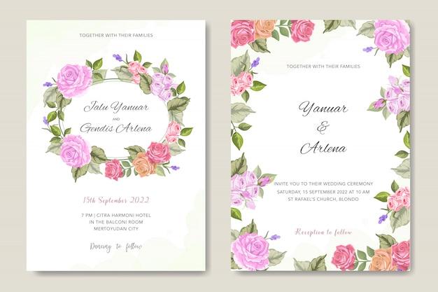 Convite de casamento com ornamento floral Vetor Premium