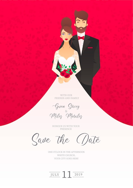 Convite de casamento com personagens Vetor grátis