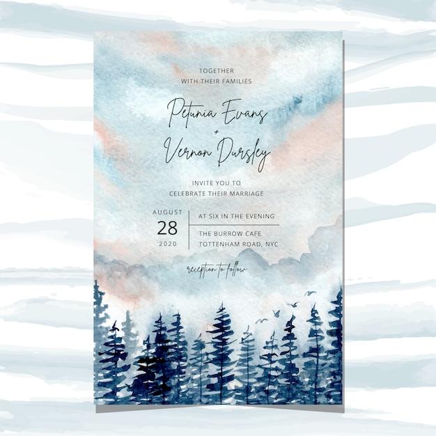Convite de casamento com pinheiros Vetor Premium