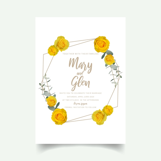 Convite de casamento com rosas amarelas florais Vetor Premium
