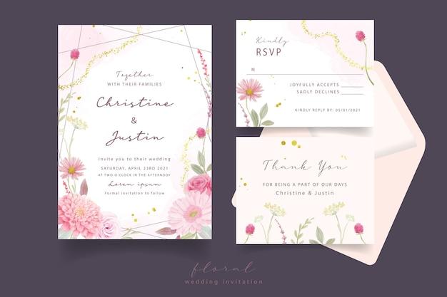 Convite de casamento com rosas aquarela, flores dália e gérbera Vetor grátis
