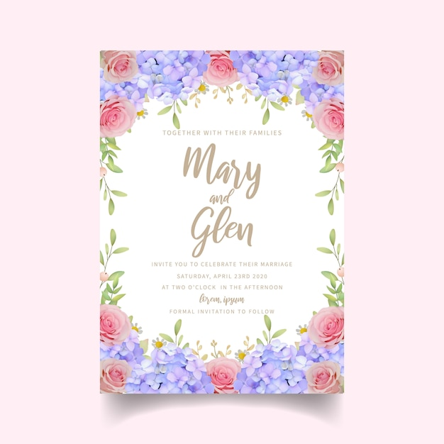 Convite de casamento com rosas e floral hortênsia Vetor Premium