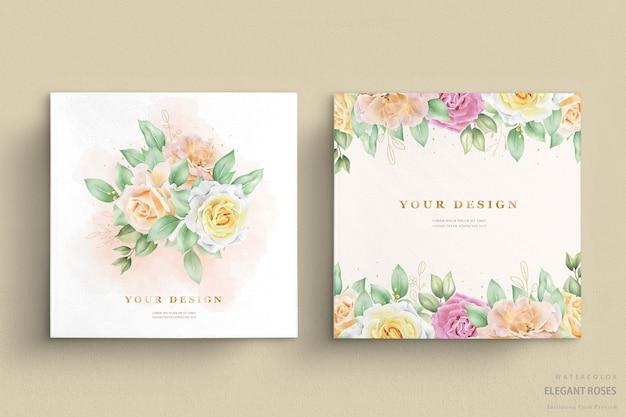 Convite de casamento com rosas em aquarela Vetor grátis