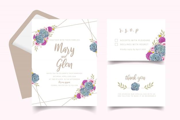 Convite de casamento com rosas florais e suculentas Vetor Premium