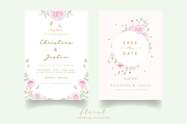 Convite de casamento com rosas florais em aquarela Vetor grátis
