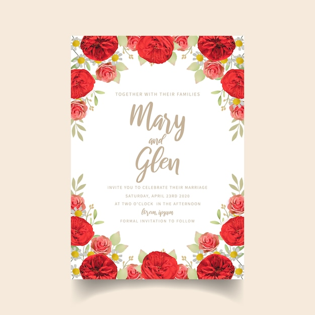 Convite de casamento com rosas vermelhas florais Vetor Premium