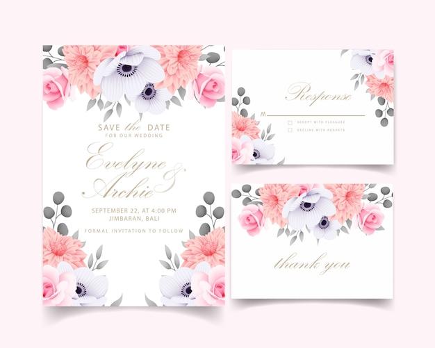 Convite de casamento com rosas Vetor Premium