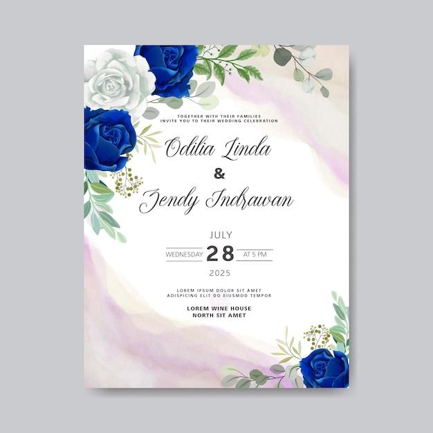 Convite de casamento com temas florais de luxo e beleza Vetor Premium