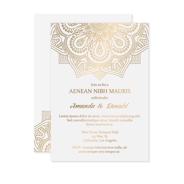Convite de casamento de luxo Vetor grátis