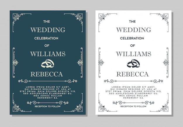 Convite de casamento de luxo Vetor Premium