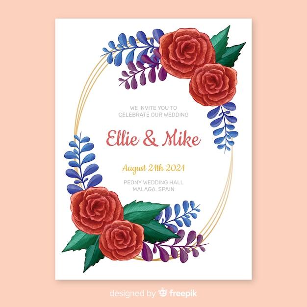 Convite de casamento de moldura floral de pintados à mão Vetor grátis