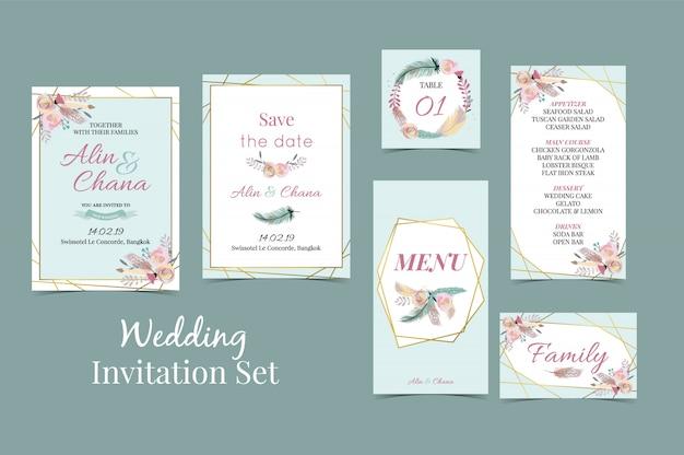 Convite de casamento de ouro verde azul geometria com pena Vetor Premium