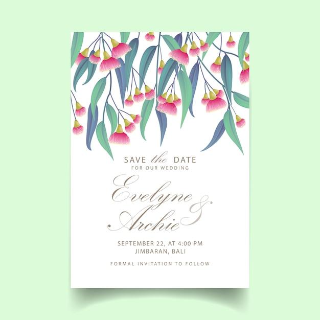 Convite de casamento de vegetação com eucalipto de flor Vetor Premium