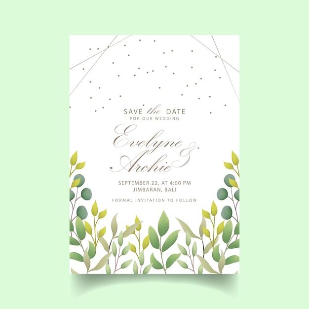 Convite de casamento de vegetação Vetor Premium