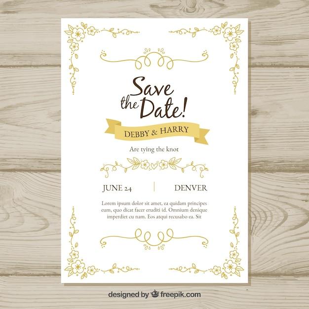 Convite de casamento desenhado à mão com estilo retro Vetor grátis
