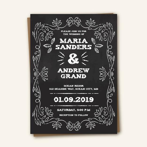 Convite de casamento do vintage do modelo Vetor grátis