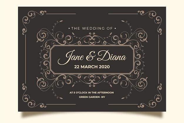 Convite de casamento do vintage no fundo marrom Vetor grátis