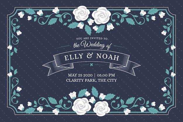 Convite de casamento do vintage Vetor grátis