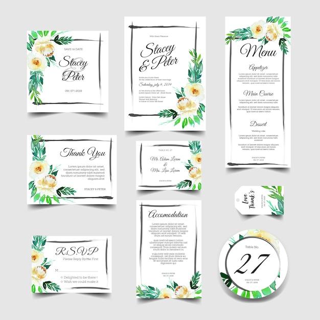 Convite de casamento doce conjunto de aquarela floral branco Vetor Premium