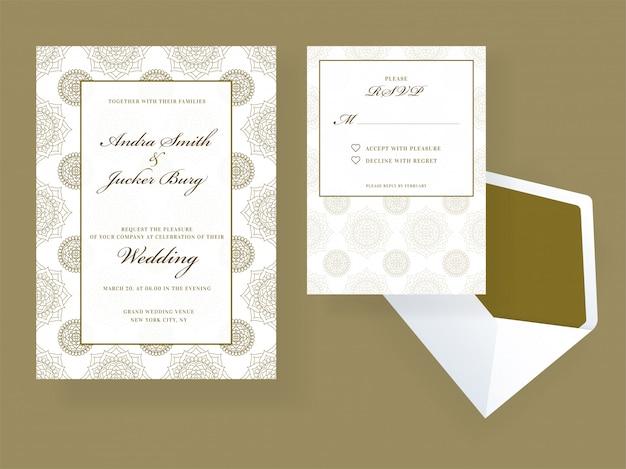 Convite de casamento e design de cartão rsvp Vetor Premium