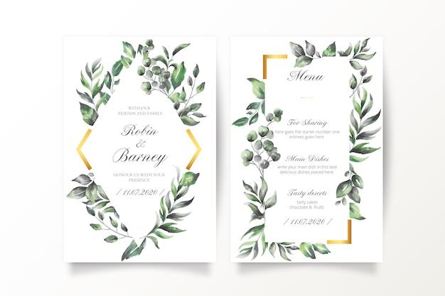 Convite de casamento e modelo de menu com folhas em aquarela Vetor grátis