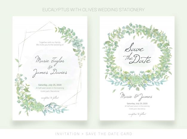Convite de casamento e salvar o cartão de data com folhas de aquarela Vetor Premium